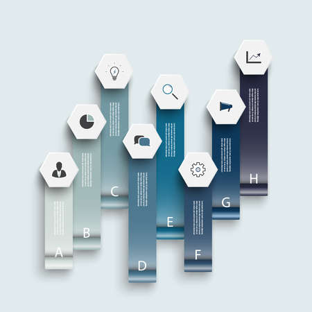 Infographic design vector and marketing icons can be used for workflow layout, diagram, annual report, web design. Business concept with 8 options, steps or processes. Vettoriali