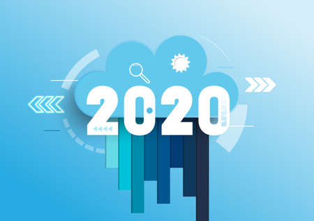 Infographic concept 2020 year. Hot trends, prospects in cloud computing services and technologies, big data storage, communication. Vector illustration. Vettoriali