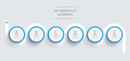 Abstract elements of graph infographic template with label, integrated circles. Business concept with 6 options. For content, diagram, flowchart, steps, parts, timeline infographics, workflow layout.