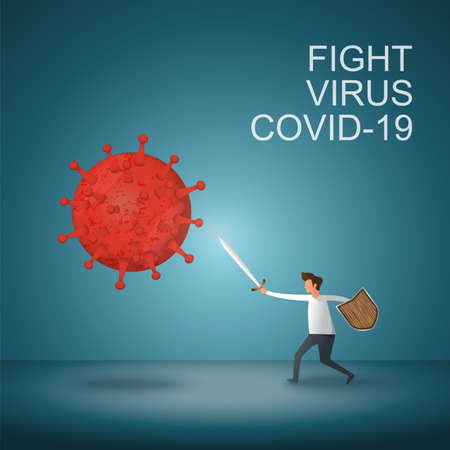 Man fight covid-19 corona virus. cure corona virus. people fight virus concept. corona viruses vaccine concept. illustrator virus. Vettoriali