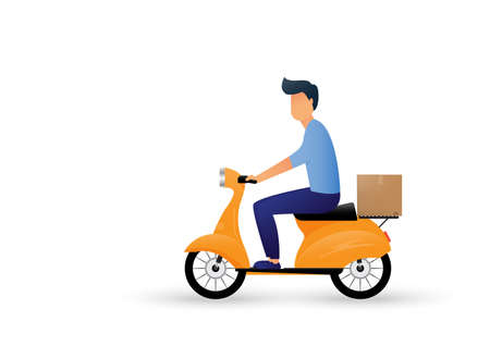 Delivery man ride scooter motorcycle cartoon. Express delivery. Vector illustration