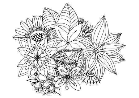 Floral seamless border of a wild flowers and herbs on a white background. Hand drawn illustrator vector.