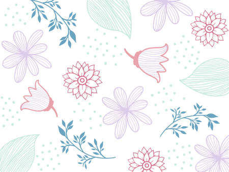 Flowers seamless pattern. White silhouettes flowers, leafs, branches on dark blue background. Vector illustration.