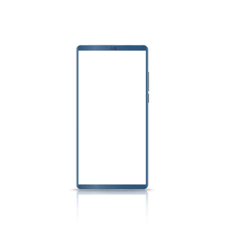 New version of blue slim smartphone similar to with blank white screen. Realistic vector illustration.