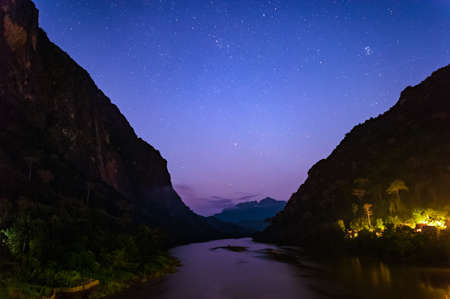 nightfall: Beautiful starscape between duo mountains in the nightfall