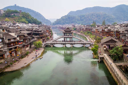 View over Fenghuang ancient town and Tuo river