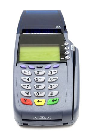 charge card: Modern POS terminal with magnetic stripe and chip reader Stock Photo