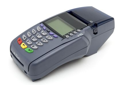 readers: Modern POS terminal with magnetic stripe and chip reader Stock Photo