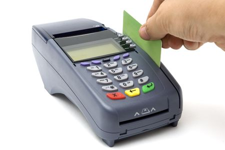 charge card: Modern wireless POS-terminal with battery and GPRS module