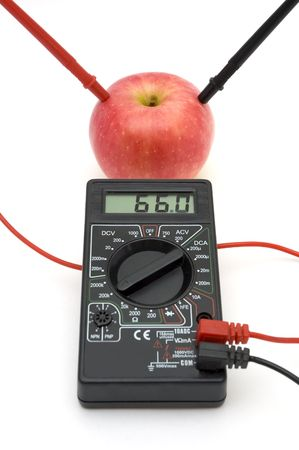 resistive: Measuring the energy of red apple, connected to gauge