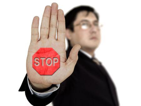 bureaucratism: Businessman raising his hand and showing stop