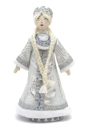 grandfather frost: Handmade Puppet Snowmaiden - Russian Symbol of New Year Celebration. Granddaughter of Grandfather Frost