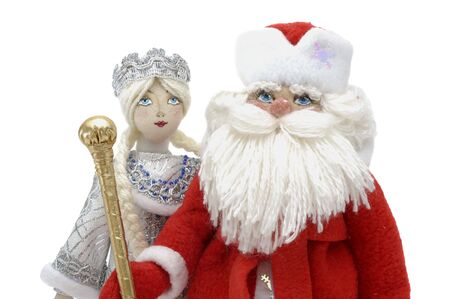 grandfather frost: Grandfather Frost and Snowmaiden - russian Symbols of New Year and Christmas celebrations Stock Photo