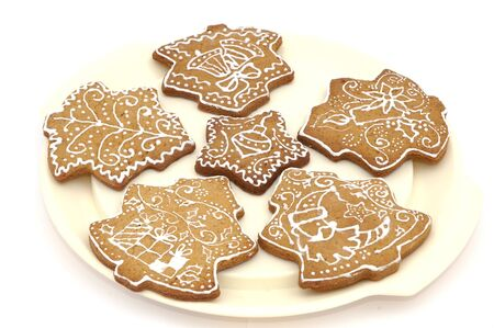 Homemade gingerbread christmas cookies stars and trees Stock Photo - 5889609