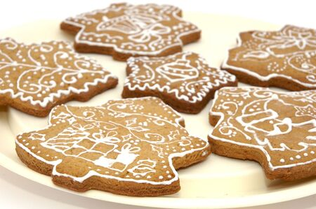 Homemade gingerbread christmas cookies stars and trees Stock Photo - 5889621