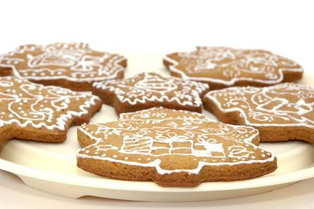 Homemade gingerbread christmas cookies stars and trees Stock Photo - 5889617
