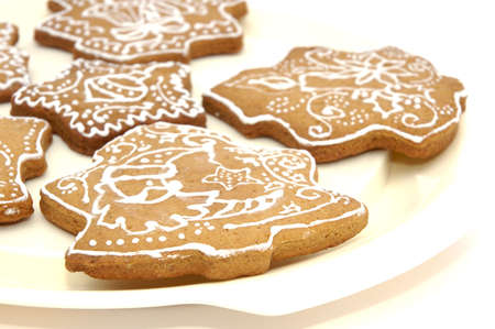 Homemade gingerbread christmas cookies stars and trees Stock Photo - 5889611