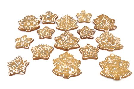 Homemade gingerbread christmas cookies stars and trees Stock Photo - 5889625