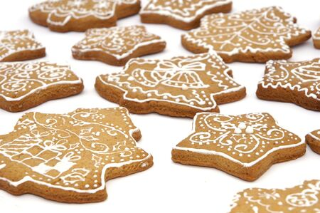 Homemade gingerbread christmas cookies stars and trees Stock Photo - 5889620