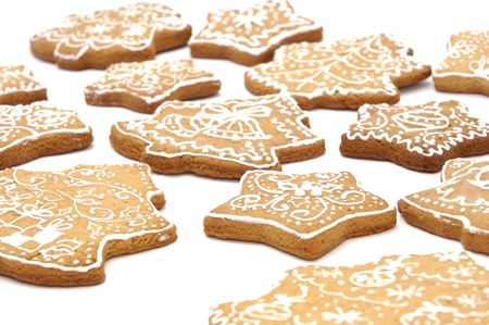Homemade gingerbread christmas cookies stars and trees Stock Photo - 5889619