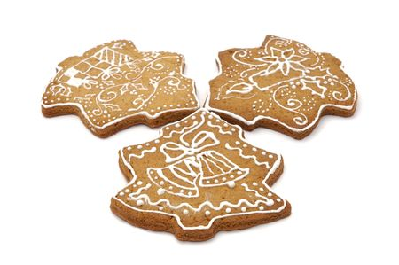 Homemade gingerbread christmas cookies stars and trees Stock Photo - 5889616