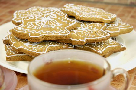 Cup of tea and gingerbread cookies on the plate Stock Photo - 5889614