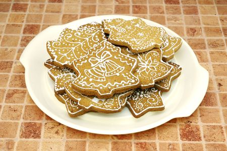 Homemade gingerbread christmas cookies stars and trees Stock Photo - 5889627