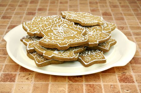 Homemade gingerbread christmas cookies stars and trees Stock Photo - 5889629