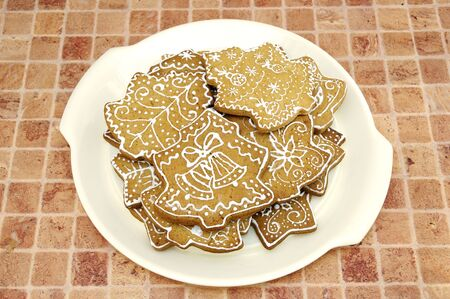 Homemade gingerbread christmas cookies stars and trees Stock Photo - 5889623