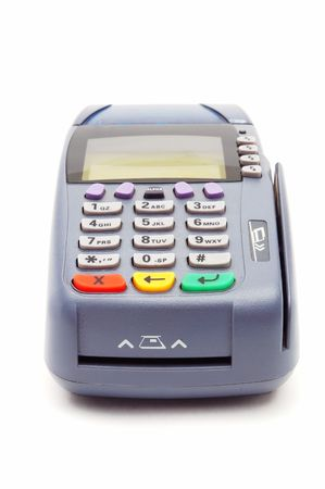Modern POS terminal with magnetic stripe and chip reader photo