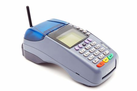 Modern wireless POS-terminal with battery and GPRS module photo