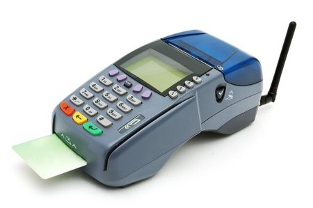 pos: Modern POS terminal with credit card inserted
