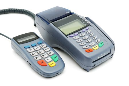 pos: Modern POS terminal with magnetic stripe and chip reader Stock Photo
