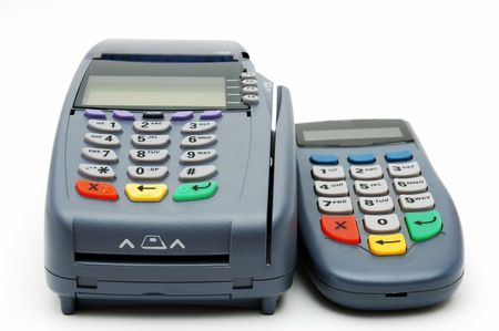 pin stripe: Modern POS terminal with magnetic stripe and chip reader Stock Photo