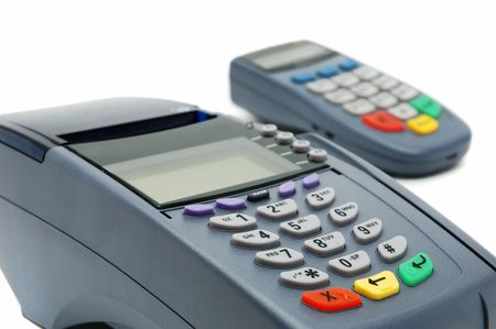 overdraft: Modern POS terminal with magnetic stripe and chip reader Stock Photo