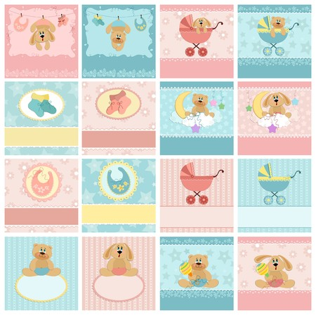 Collection of baby's postcards, greetings cards or photo frame Stock Vector - 8181077