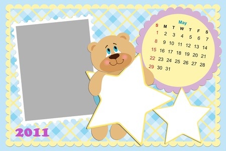 Babys monthly calendar for may 2011s with photo frame Vector