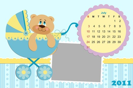 Babys monthly calendar for july 2011s with photo frame Vector