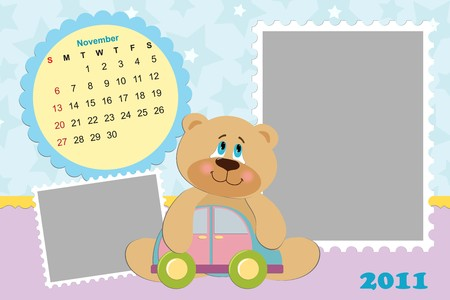 Babys monthly calendar for november 2011s with photo frame Vector