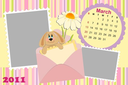 Babys monthly calendar for march 2011s with photo frame Vector