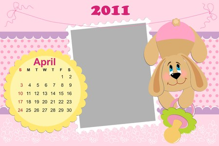 Babys monthly calendar for april 2011s with photo frame Vector