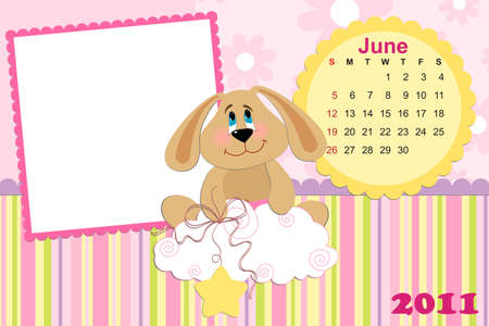 Babys monthly calendar for june 2011s with photo frame Vector