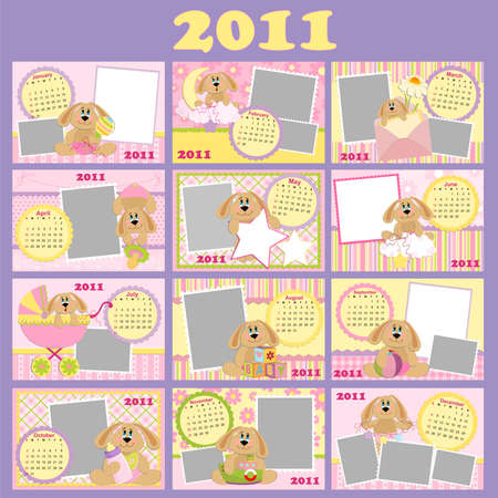 Babys monthly calendar for 2011 with photo frames Vector