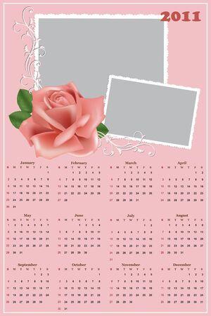 Wedding photo frame with calendar for year 2011 Vector