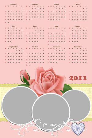 wedding photo frame: Wedding photo frame con il calendario per l'anno 2011 Vettoriali