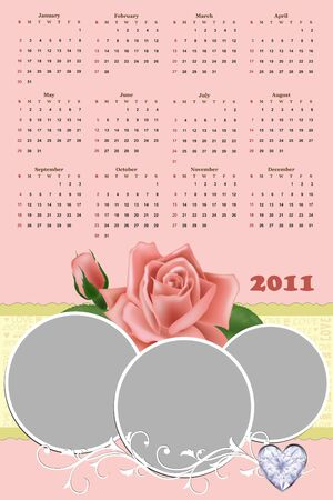 Wedding photo frame with calendar for year 2011 Vector