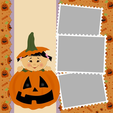 Blank template for Halloween photo frame, greetings card or postcard Vector