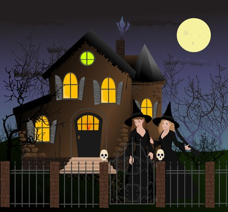Halloween scene with two beautiful witches Vector