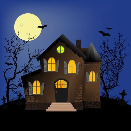 ghost house: Halloween horror scene or postcard background