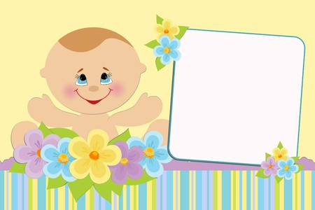 Blank template for babys greetings card or photo frame Vector